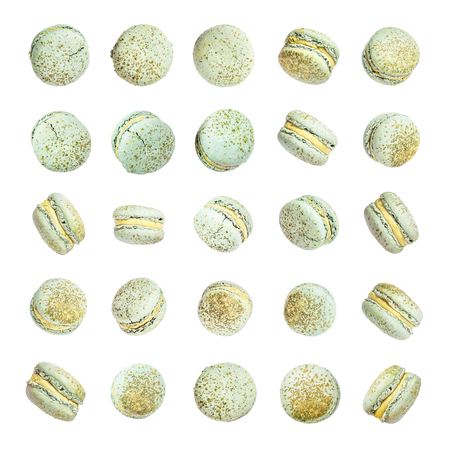 Color cake macarons, fly falling sweet macaroon. Stock Photo - 122270804