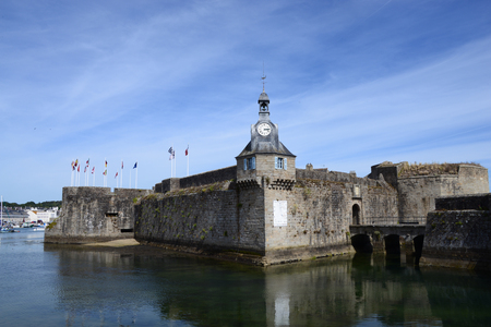 Clock Tower in Concarneau Walled City, Brittany, France