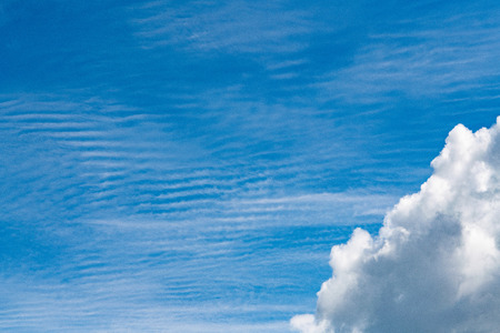Blue sky cumulus clouds. Clear cloudscape on sunny day. Serenity and calm Stock Photo