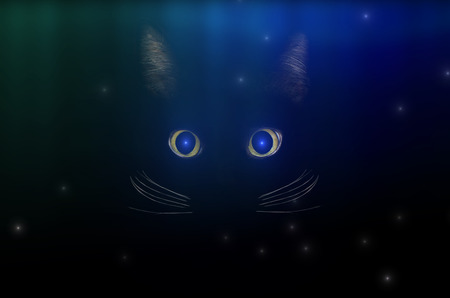 Black cat concept among starry sky, dark mysterious style. Glowing cat eyes in the dark night. Beautiful animal portrait. Domestic pet concept.