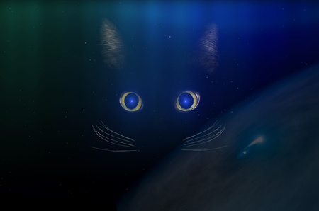 Black cat concept in space, dark mysterious style. Glowing blue cat eyes in the dark night. Beautiful animal portrait. Domestic pet concept. NASA image.
