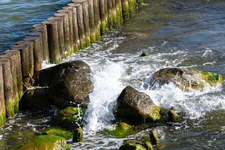 Sea tidal bore. Waves break on stones overgrown by moss and algae. Beautiful seascape.