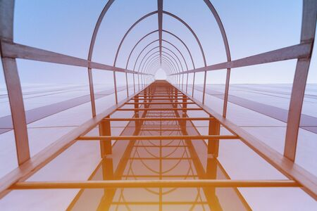 Stairway to Heaven concept. Fire escape staircase of modern shopping center. Emergency fire exit. Bottom view