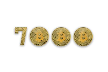 7000 bitcoin exchange rate, isolated. Crypto currency style for design.