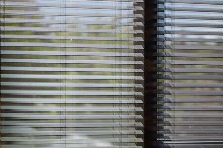 Office blinds. Modern wooden jalousie. Office meeting room lighting range control. Stockfoto