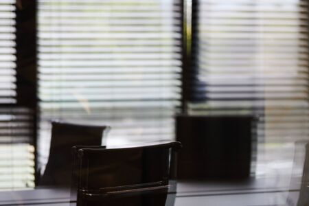Conference room in office, blurred. Modern meeting room for business negotiations and business meetings. Boardroom