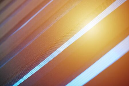 Office blinds. Sunlight through modern fabric blinds. Office meeting room lighting range control.