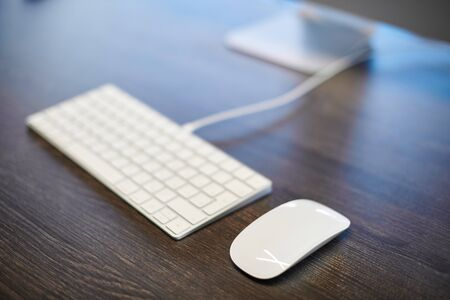 Keyboard and mouse on office table. Modern minimal workplace for study. Empty copy space.