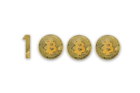 1000 bitcoin exchange rate, isolated. Crypto currency style for design.