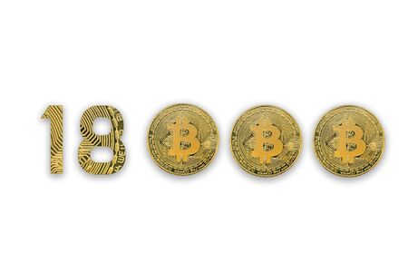 18000 bitcoin exchange rate, isolated. Crypto currency style for design.