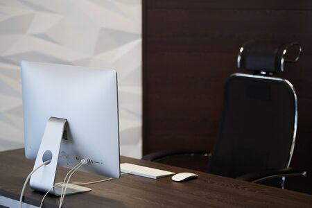 Modern workplace. Office work place for designer. Minimal desktop area for productive work. Dismissal concept.