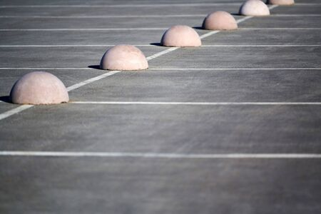 Parking hemispheres. Concrete parking limiter. Protection from car parking. Elements to restrict access to parking zone and control movement of vehicles Banco de Imagens