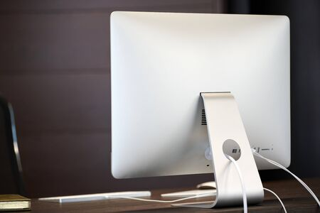 Office workplace. Modern work place for designer. Minimal desktop area for productive work of new employee Stok Fotoğraf