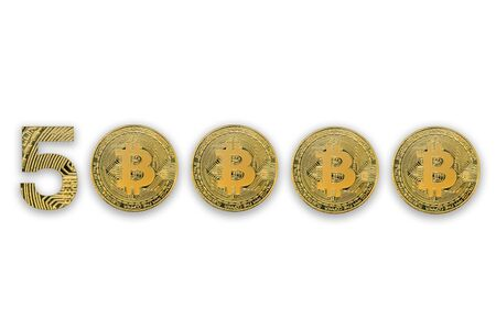 50000 bitcoin exchange rate, isolated. Crypto currency style for design. 版權商用圖片