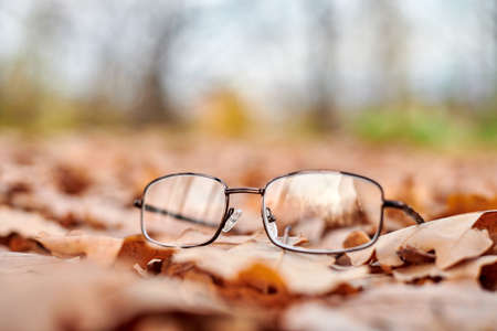 Glasses on autumn foliage. Lost glasses as symbol of sudden vision loss. Vitamin deficiency with age.