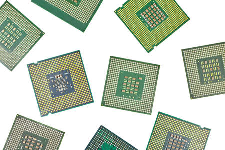 Bunch of CPU, central processor units, isolated background. Main electronic circuitry for computer. Top view, flat lay