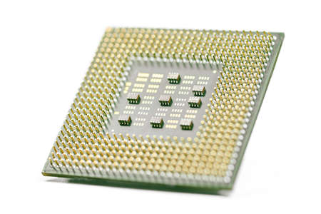 CPU, central processor unit, isolated background. Main electronic circuitry for computer. Shallow DOF