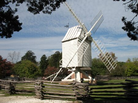 pioneers: Historic Colonial Williamsburg Windmill Stock Photo