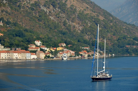 Sailboat in Gulf of Kotor