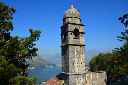 kotor: Church Steeple in Kotor Montenegro Stock Photo