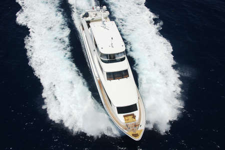 luxuries: Luxury yacht aerial Stock Photo