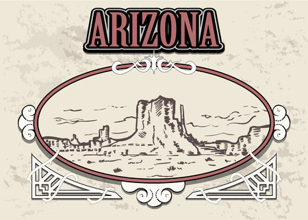 Arizona skyline, USA, in a decorative vintage frame, retro hand drawn Arizona landescape.