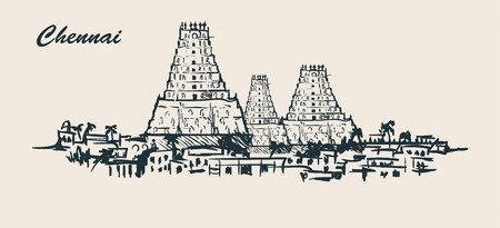 Chennai skyline,hand-drawn sketch vector illustration on white background.Vintage doodle.