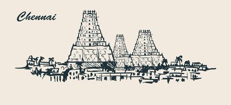 Orizzonte di Chennai, illustrazione di vettore di schizzo disegnato a mano su fondo bianco. Scarabocchio dell'annata.