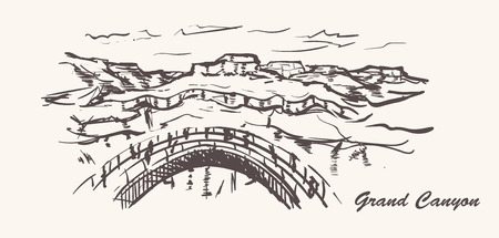 Grand canyon hand drawn style. Arizona sketch illustration on white background.