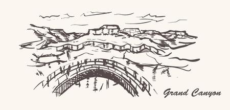 Grand canyon hand drawn style. Arizona sketch illustration on white background.