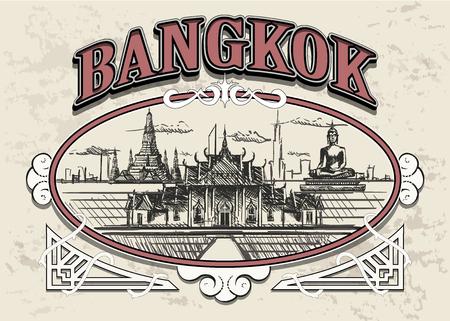 Bangkok,Thailand in a decorative vintage frame, retro hand drawn Bangkok city.
