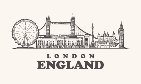 London skyline, England vintage vector illustration, hand drawn.