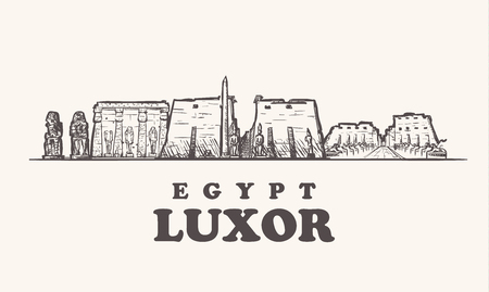 Luxor skyline, Egypt vintage sketch vector illustration.