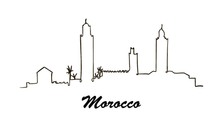 One line style Morocco skyline. Simple modern vector.