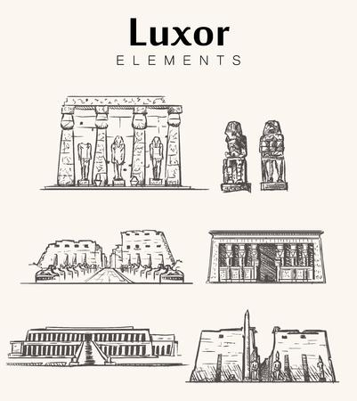 Ensemble de bâtiments de Louxor dessinés à la main. Illustration vectorielle de Louxor croquis. Vecteurs