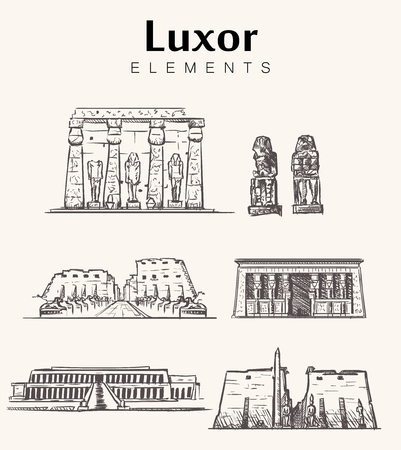 Set of hand-drawn Luxor buildings.Luxor sketch vector illustration.