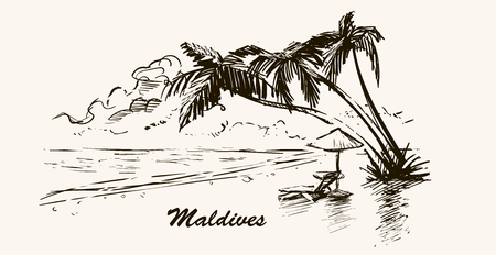 Beach with palm trees in Maldives.Hand drawn sketch Maldives illustration in retro frame.