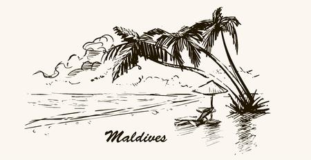 Spiaggia con palme in Maldives.Hand schizzo disegnato illustrazione delle Maldive nel telaio retrò. Vettoriali