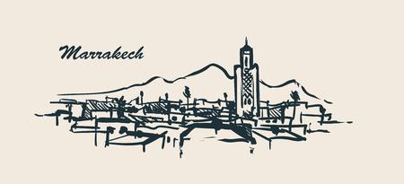 Marrakech skyline hand drawn sketch vector illustration.