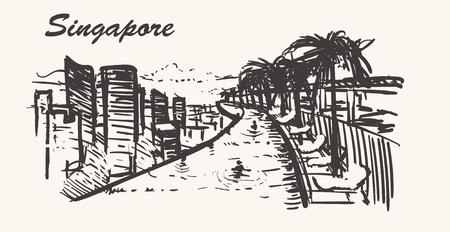 View from Marina Bay Sands hotel.Singapore skyline,hand-drawn. Illustration