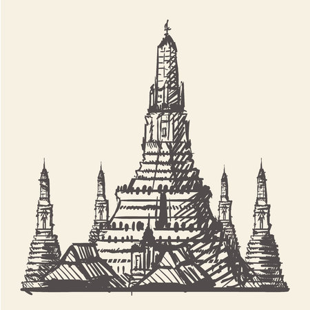 Temple in Bangkok Thailand hand-draw sketch vector illustration. Illustration
