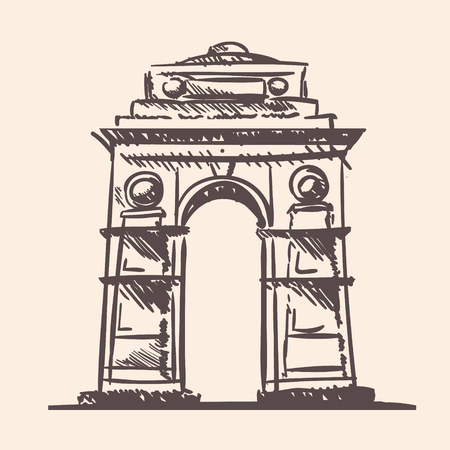 Indian memorial arch gate hand drawn sketch. Ilustrace