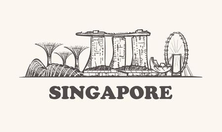 Orizzonte di Singapore, illustrazione vettoriale vintage, disegnata a mano.