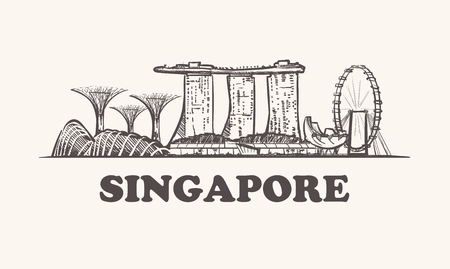 Singapore skyline, vintage vector illustration, hand drawn. Vettoriali