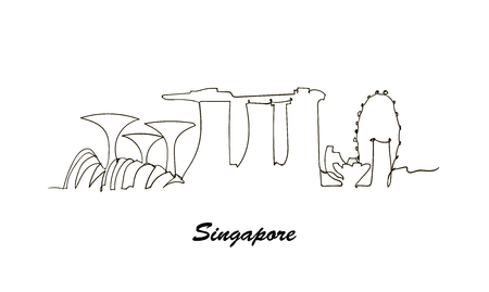 One line style Singapore city skyline. minimaistic style vector.  イラスト・ベクター素材