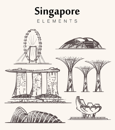 Set of hand-drawn Singapore buildings sketch vector illustration.