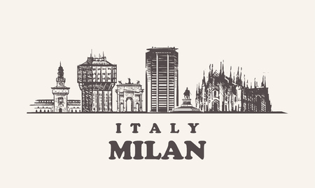Milan skyline, Italy vintage vector illustration, hand drawn buildings of Milan city, on white background.