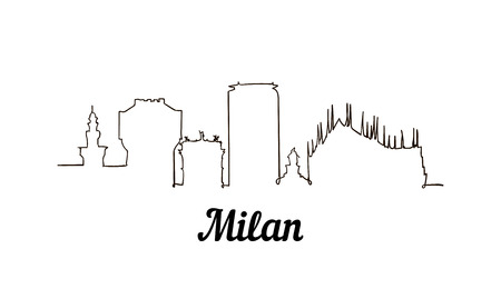 One line style Milan sketch illustration isolated on white background.
