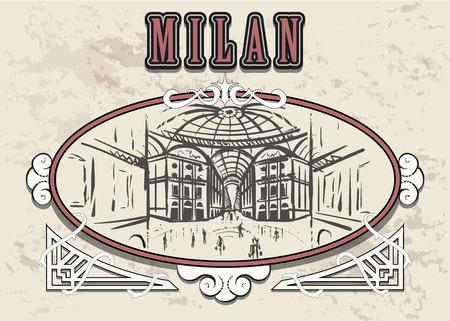 MIlan Gallery of Victor Emmanuel II hand drawn sketch. Milan in a decorative vintage frame.