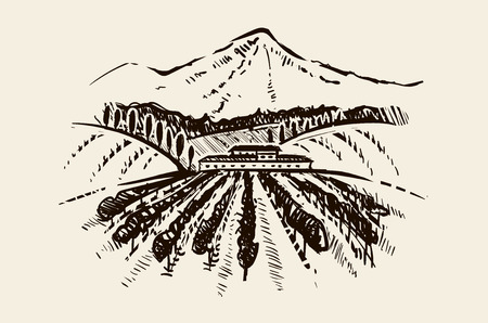 vector hand drawn image of village and landscape sketch illustration